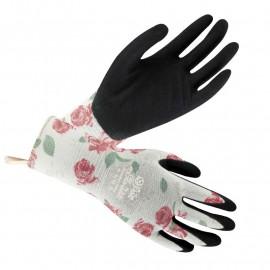 Gants de jardinage Lumière (imprimé roses)