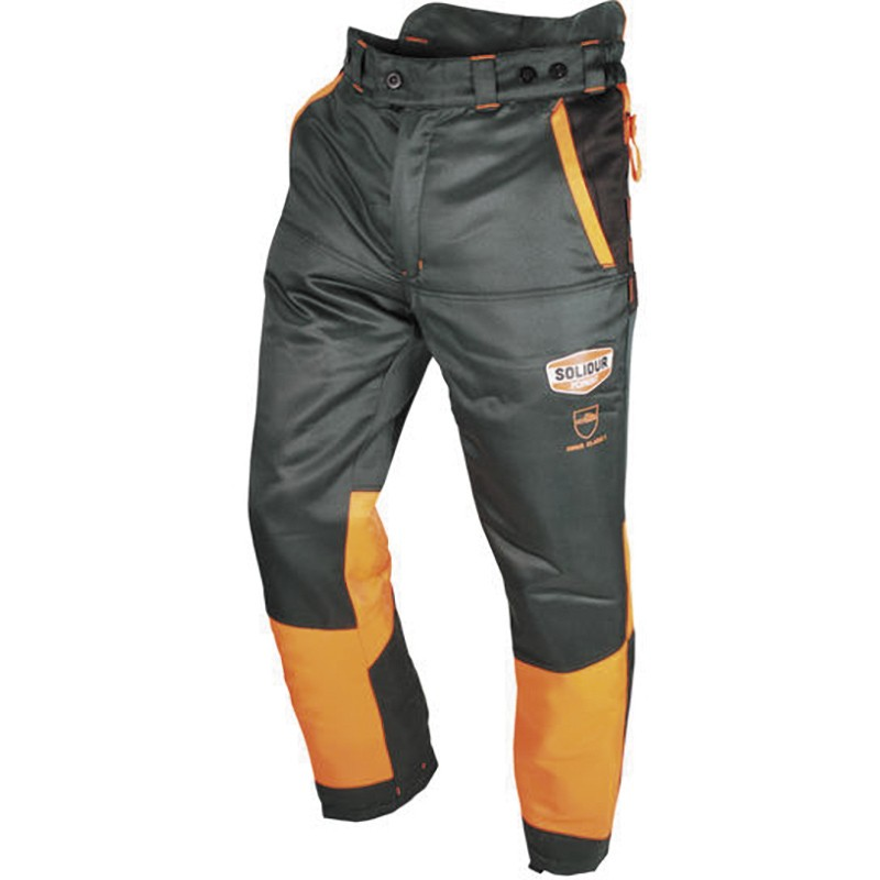 """Pantalon dit """"anti-coupure"""" Classe 3 SOLIDUR gris et orange Authentic"""