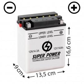 Batterie livrée avec acide (12N14-3A) + à droite
