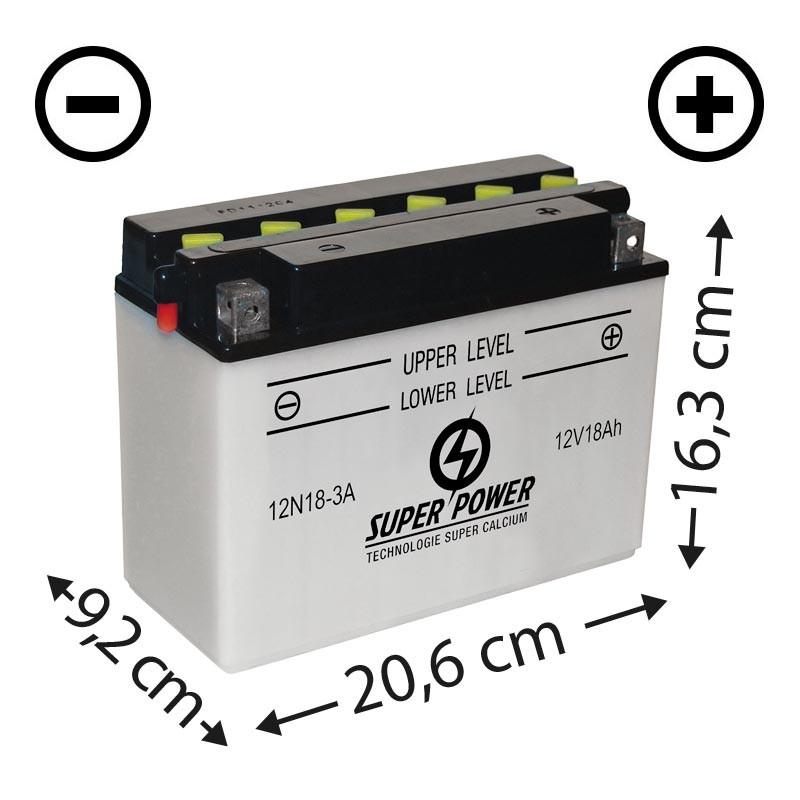 Batterie livrée avec acide (12n18-3a) + à droite