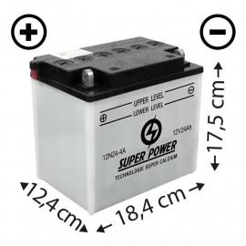 Batterie (12N24-4A) + à gauche
