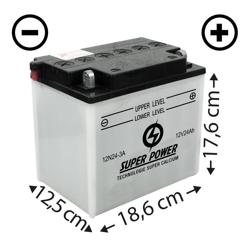 Batterie (12N24-3A) + à droite