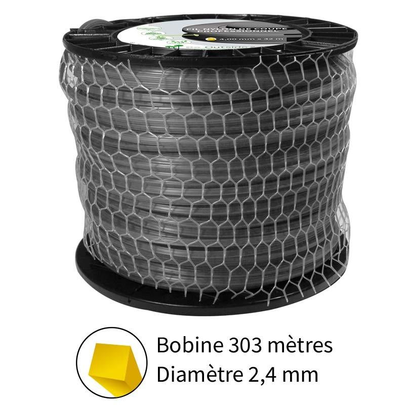 Fil carré diam. 2.4 mm pour débroussailleuse