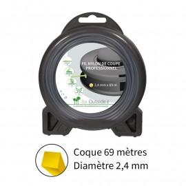 Fil carré ø2.4 mm pour débroussailleuse