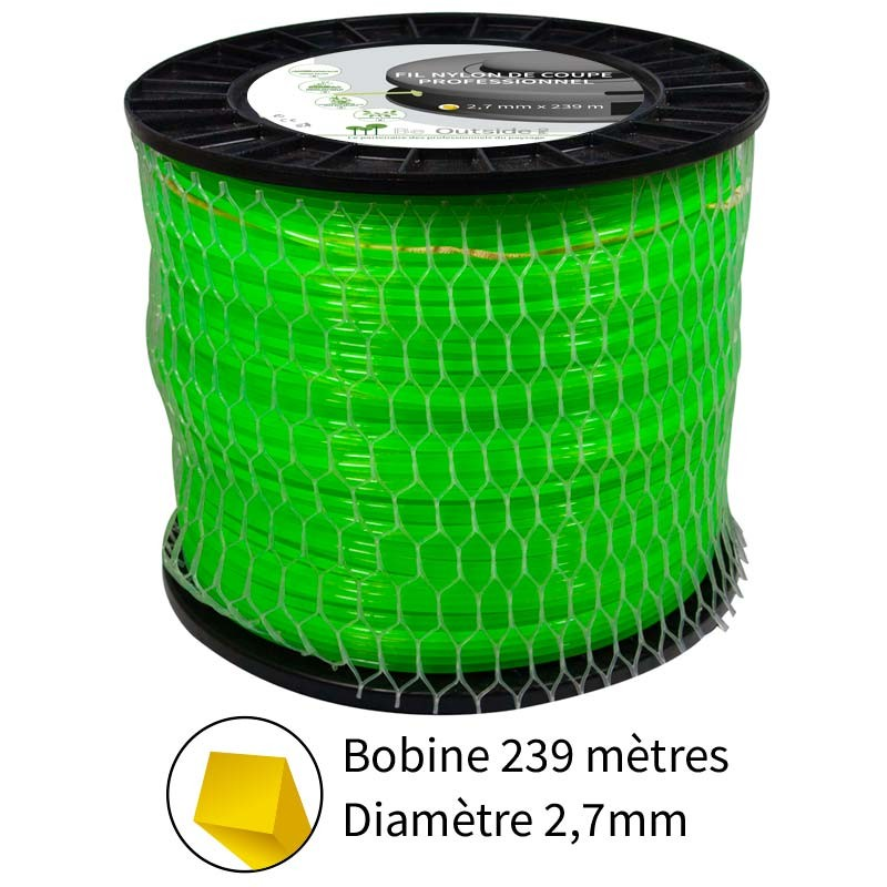 Fil nylon de coupe carré 2.7 mm pour débroussailleuses