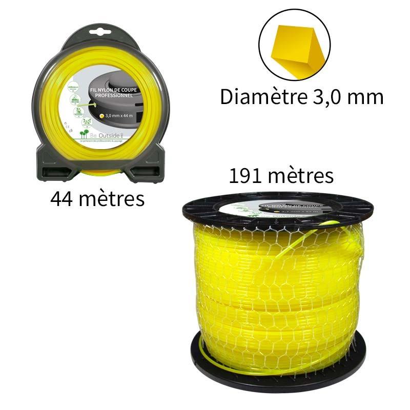 Fil carré ø3.0 mm pour débroussailleuse