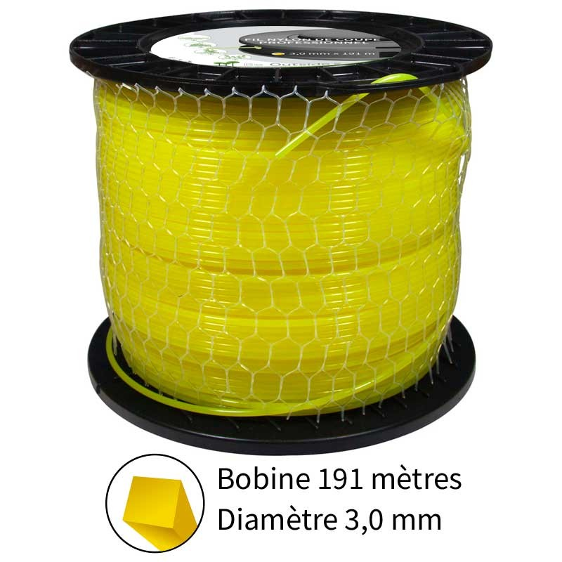 Fil carré diam. 3.0 mm pour débroussailleuse