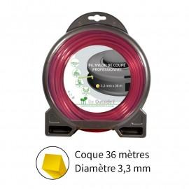 Fil carré ø3.3 mm pour débroussailleuse