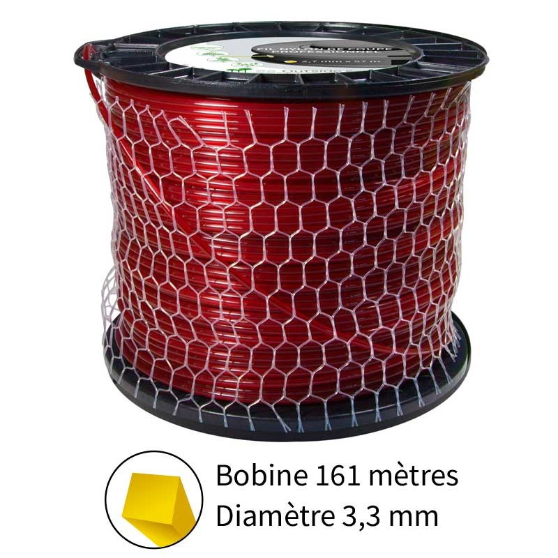 Fil carré diam. 3.3 mm pour débroussailleuse