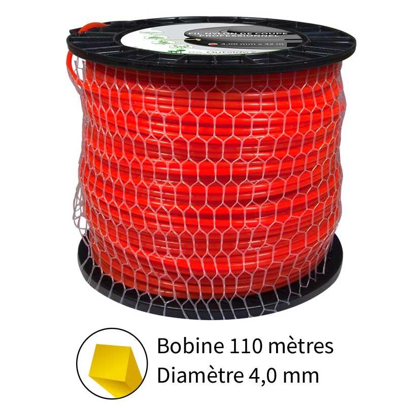 Fil nylon de coupe carré 4.0 mm pour débroussailleuses