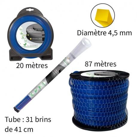 Fil carré ø4.5 mm pour débroussailleuse