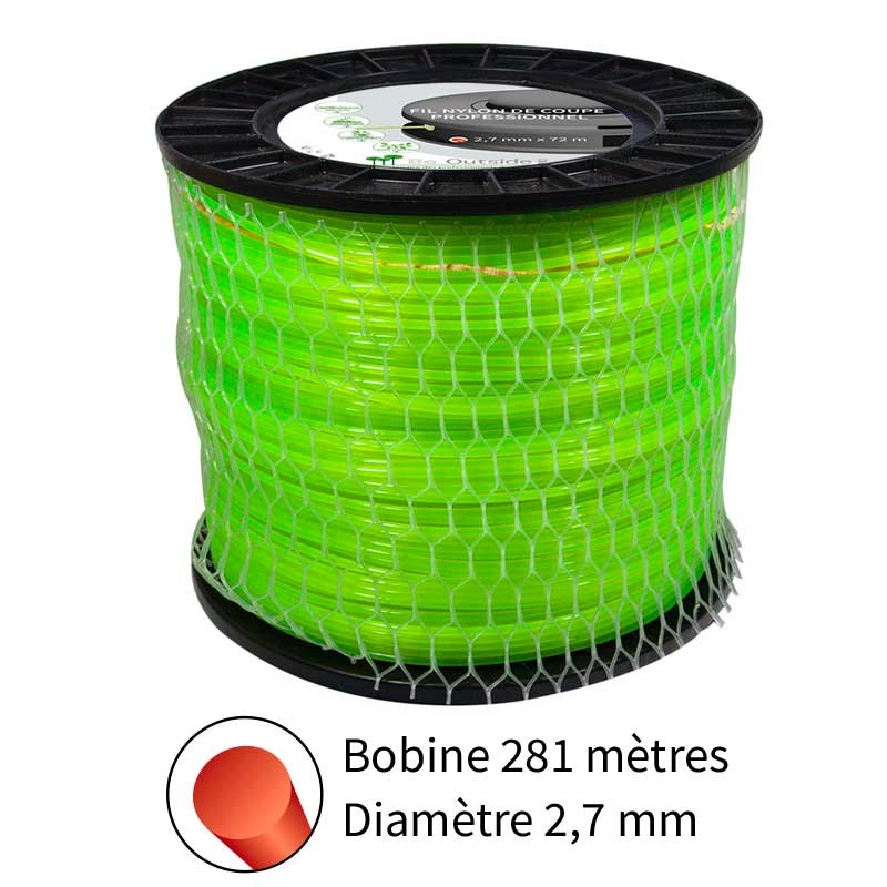 Fil rond diam. 2.7 mm pour débroussailleuse