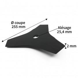 Lame débroussailleuse acier 3 dents ø255 mm alés.25.4 mm ep.2 mm