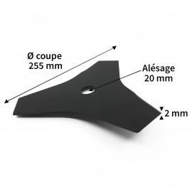 Lame débroussailleuse acier 3 dents diam. 255 mm alés.20 mm ep.2 mm