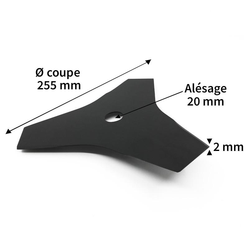 Lame débroussailleuse acier 3 dents ø255 mm alés.20 mm ep.2 mm