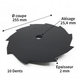 Lame débroussailleuse acier 10 dents diam. 255 mm alés.25.4 mm ep.2 mm