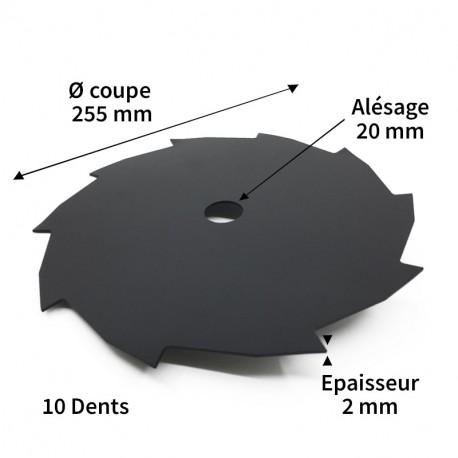 Lame débroussailleuse acier 10 dents ø255 mm alés.20 mm ep.2 mm