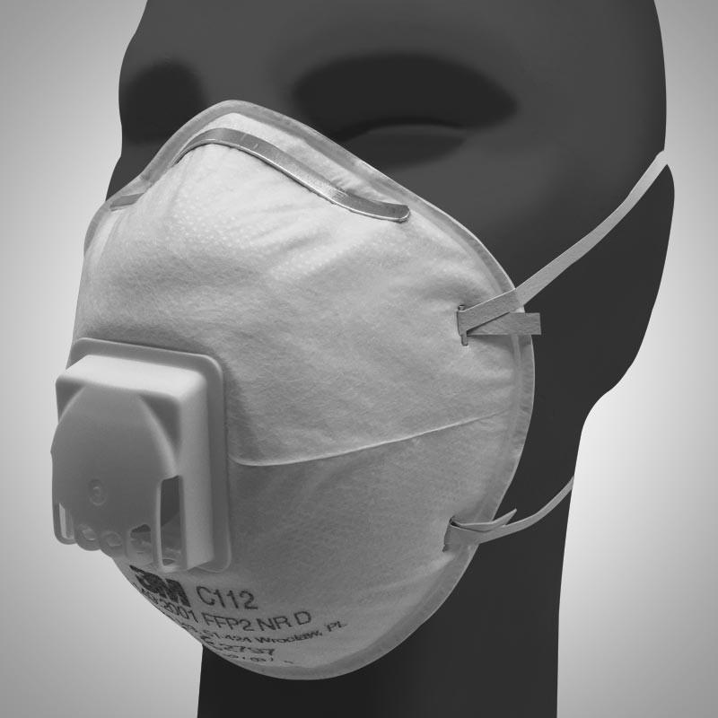 Masque coque 3M classé FFP2 NR D, avec soupape expiratoire